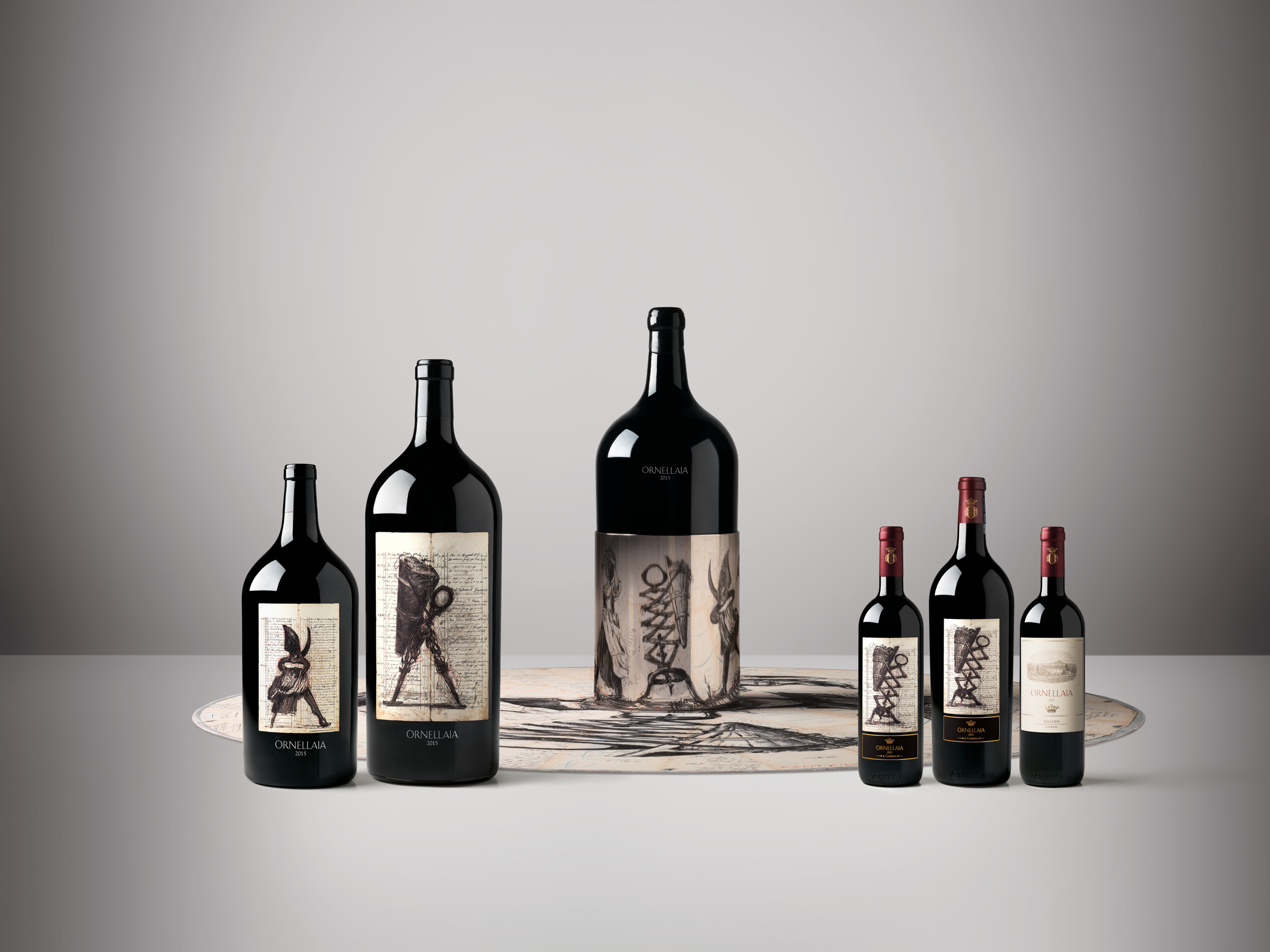 Ornellaia 2015 and Château Mouton Rothschild 2016: William Kentridge creates art labels for iconic wines